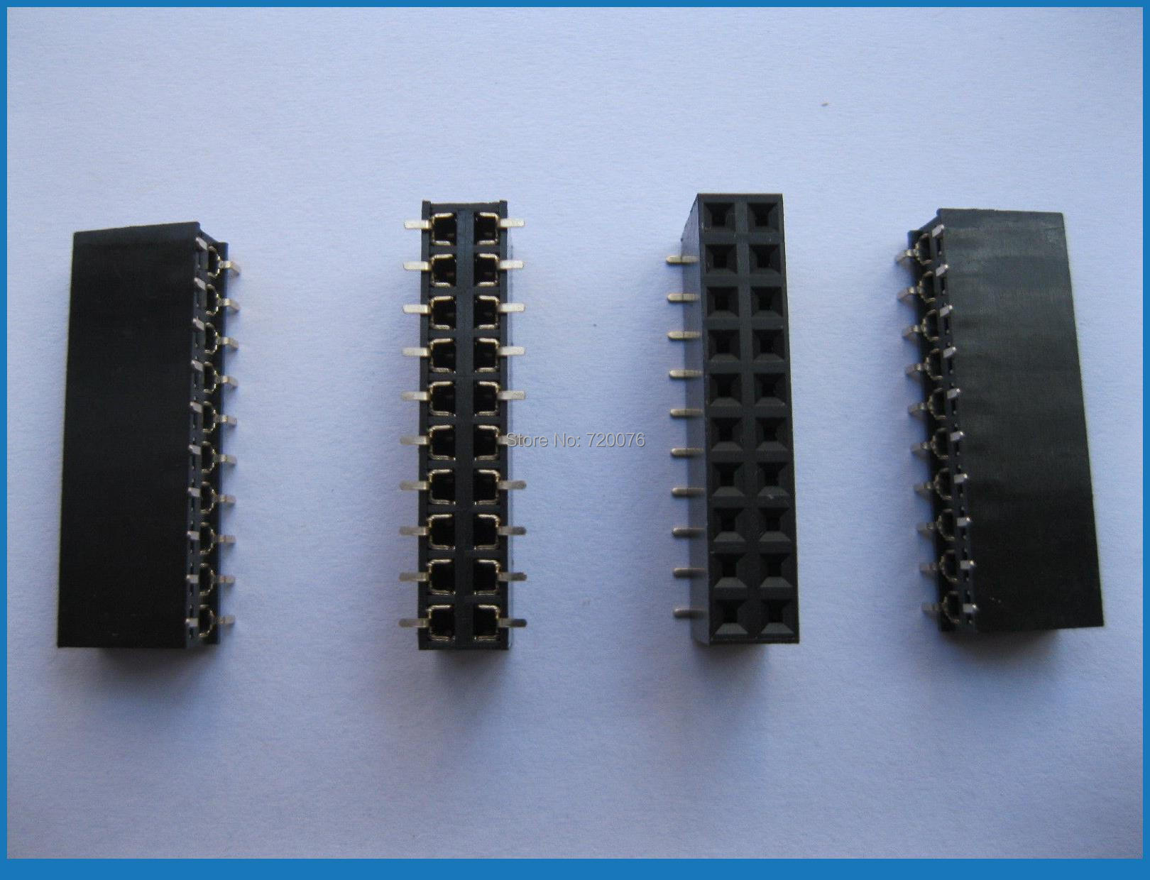 100 pièces plaqué or SMD SMT 2.54mm cassable femelle broche en-tête 20pin double rangée