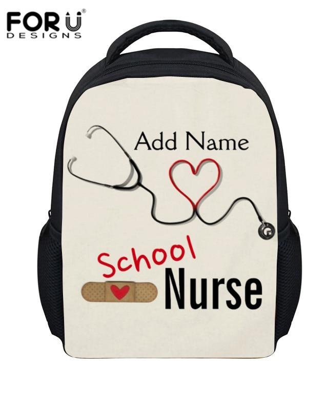 FORUDESIGNS Cartoon School Nurse Pattern School Bags For Baby Girls Boy Add Name Print Schoolbags Toddler Backpacks Kindergarten