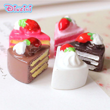 5pcs Strawberry Birthday Cake Miniature Figures Simulation Food Play House Toys Doll DIY Accessories Children Kids toy