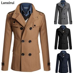 Image 4 - Średni długi płaszcz mężczyźni płaszcz kurtka zimowa mężczyźni wiatrówka gruby jednolity czarny trencz mężczyźni angielski styl kostium