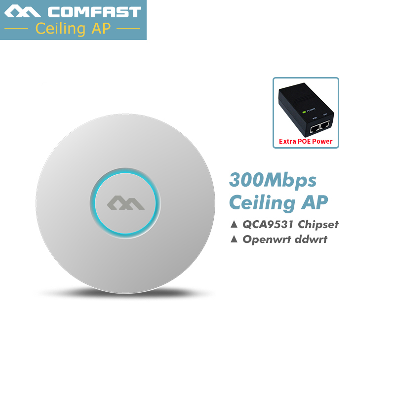 цена Comfast Indoor Wireless Router 300Mbps Ceiling AP Router 2.4Ghz WiFi Access Point AP for Hotel 48V POE WI-FI Signal Amplifier