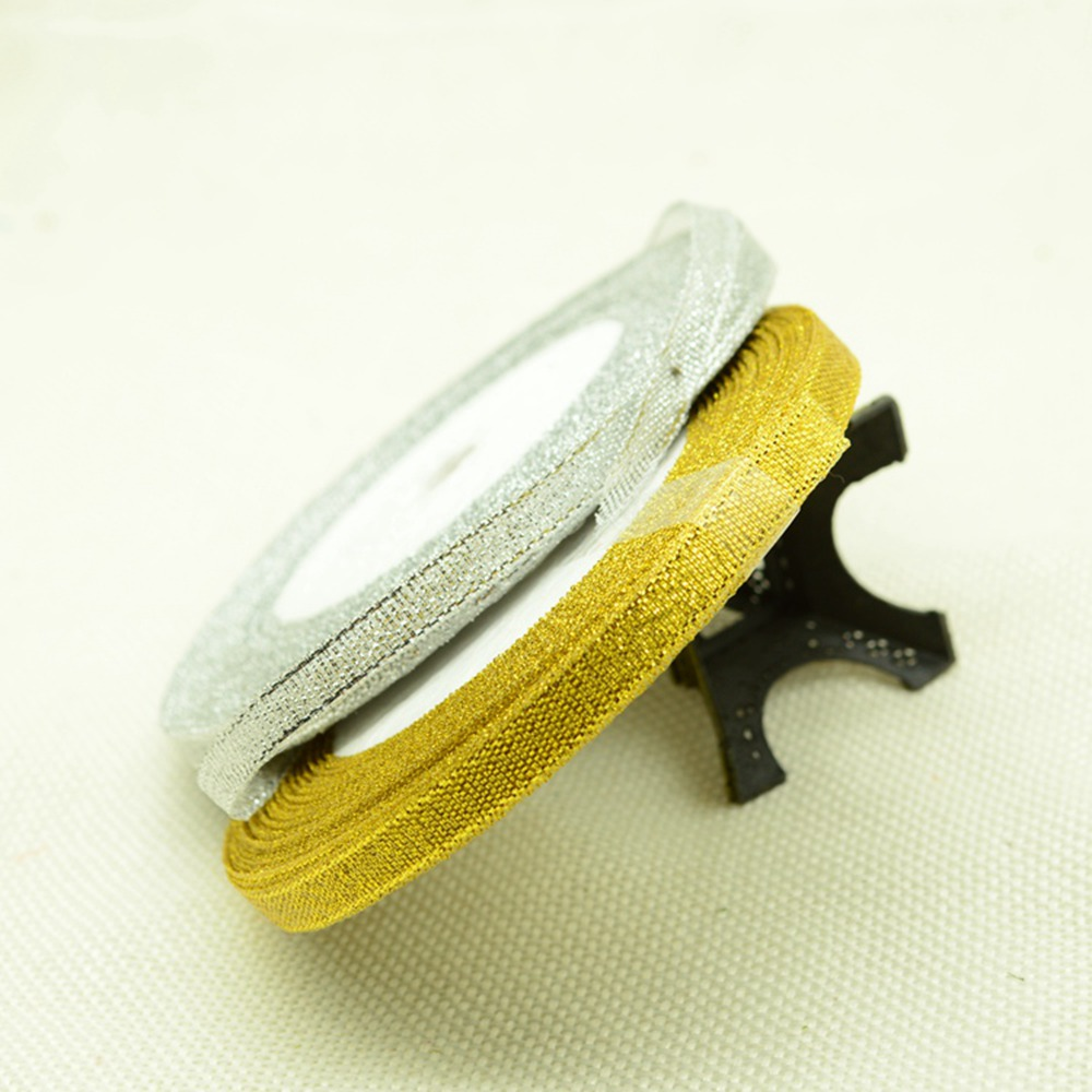 Шелковый Атлас золото серебро ленты 6 мм 25 ярдов 22 м DIY ручной работы ремесло Свадебная вечеринка для упаковки подарков записки поставки