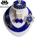 Модный Нигерии Свадьба африканские бусы jewelry set Royal Blue Crystal ожерелье браслет Свадебные Ювелирные наборы Бесплатная доставка GG-445