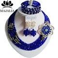 De moda de Nigeria perlas africanas de la Boda joyería fijó Royal Blue Crystal collar pulsera Joyería Nupcial fija El Envío libre GG-445