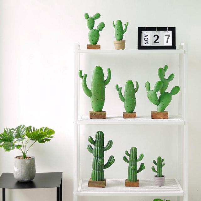 Искусственные смолы суккуленты кактус зеленые растения настольные поддельные цветы DIY домашний декор для стола пустынные растения ландшафтное украшение