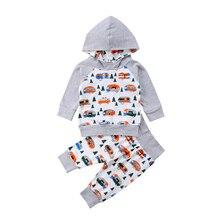 26b53e6d6 Recién nacido niños ropa establece bebé niños niñas algodón imprimir ropa  con capucha Tops sudaderas + Pantalones 2 piezas traje.