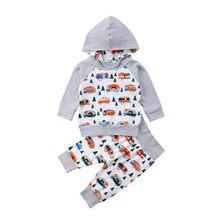 Recién nacido niños ropa establece bebé niños niñas algodón imprimir ropa  con capucha Tops sudaderas + Pantalones 2 piezas traje. ccbce98bef12