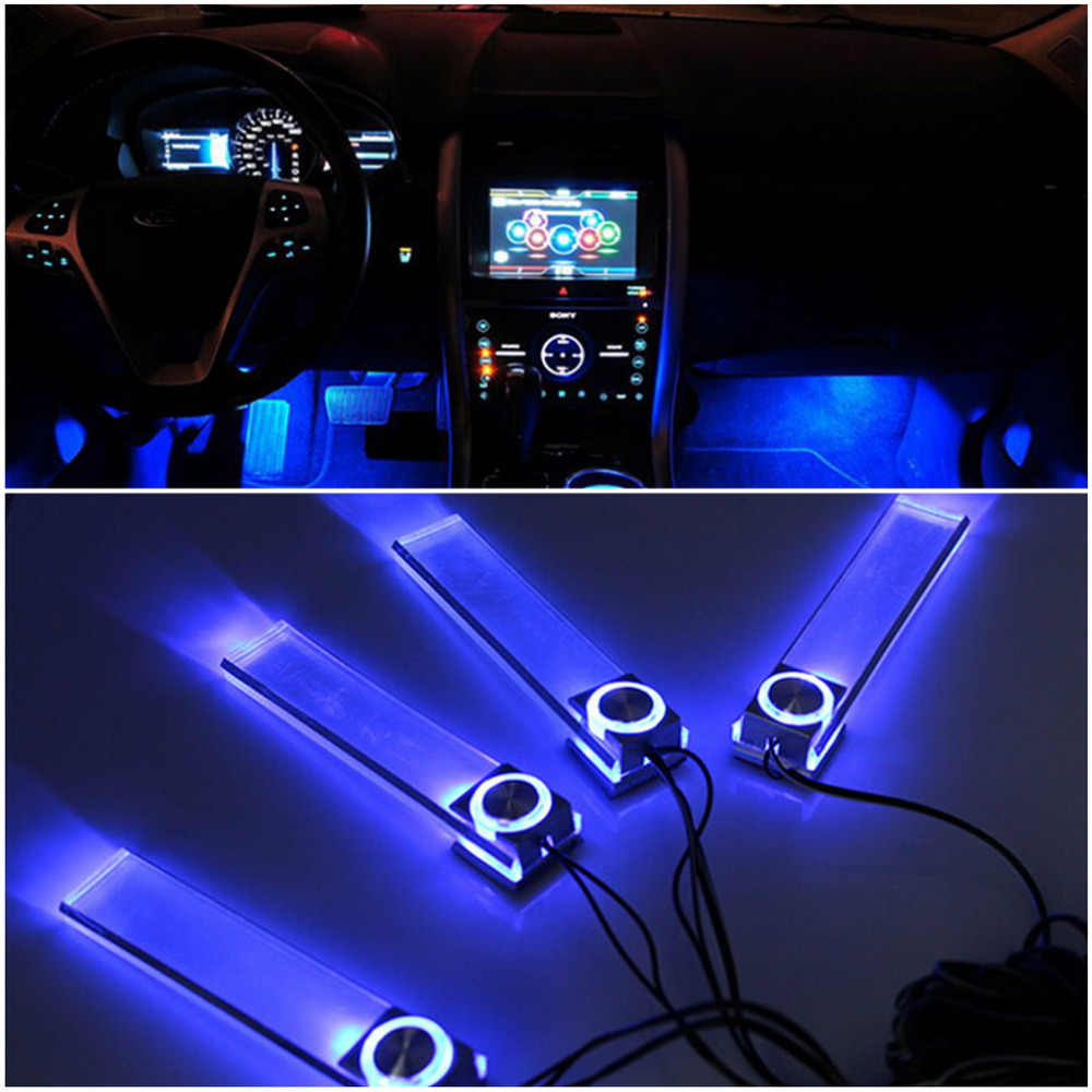 New 4 In 1 12 V Fashion Romantic LED Blue Car Decorative Lights Charge LED Interior Floor Decoration Lights Lamp Hot Worldwide