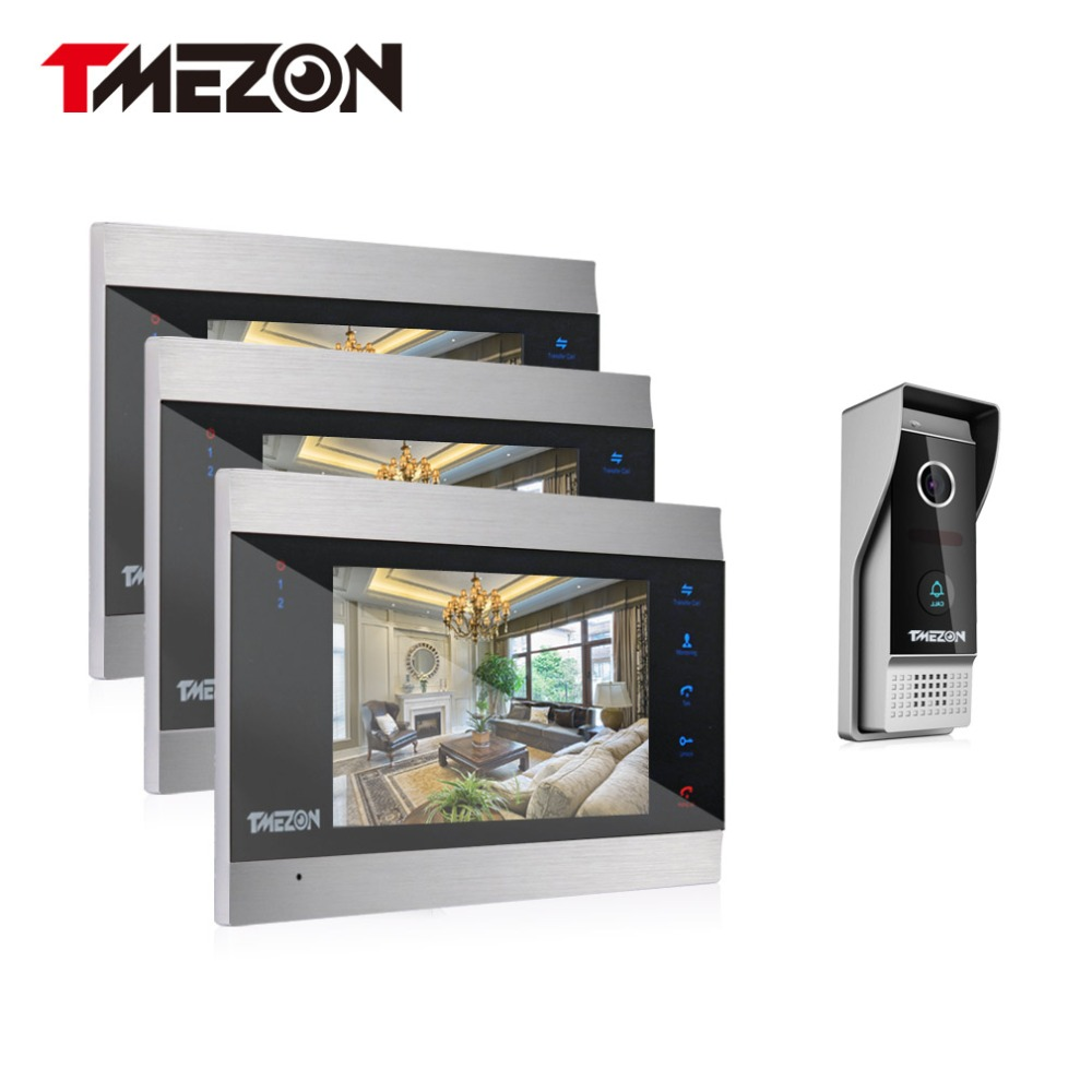Tmezon Video Door Phone System 3pcs 7 Color Monitor One 1200TVL Outdoor Doorbell Camera Waterproof Auto-IR Night Vision 3V1 Set tmezon 4 inch tft color monitor 1200tvl camera video door phone intercom security speaker system waterproof ir night vision 1v1