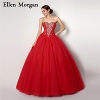Cheap Quinceanera Dresses 2018 Real Pictures Sweet 15 16 Girls Sexy Lace up Floor Length Tulle Beaded Puffy Princess Prom Gowns