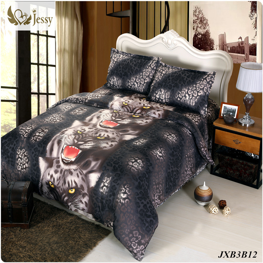 Leopard and red bedding - Luxury Wedding Red Rose Leopard Tiger Bedding Set 3d Bedding Set Duvet Cover Set Twin Queen