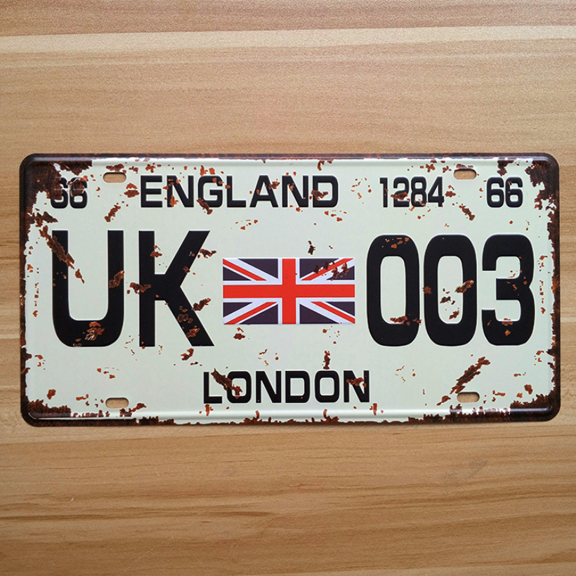 UA-CP-0041 Vintage License Number UK-003 England london Carplates metal tin signs Retro Art wall craft decor Bar 30*15 CM
