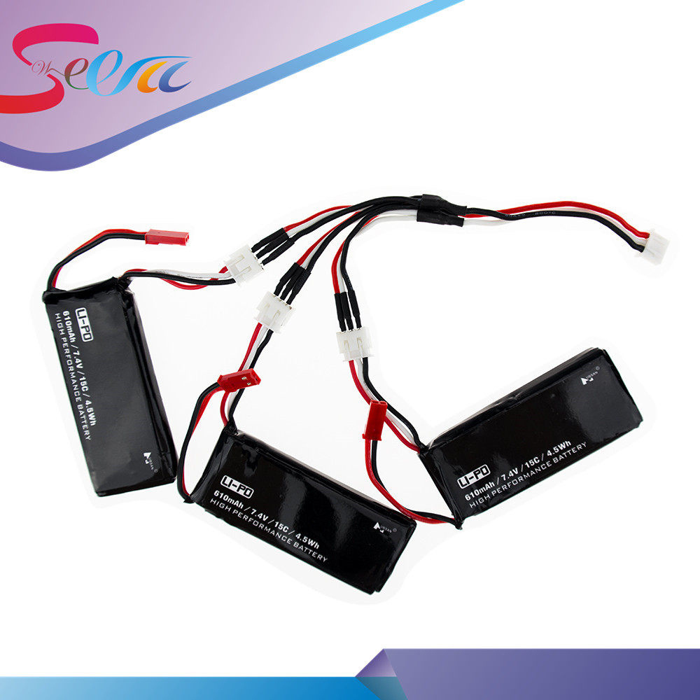 Hubsan H502S lipo battery 7.4V 610mAh 15C 4.5Wh batteries 3pcs and charger cable JST plug For H502E rc Quadcopter drone Parts