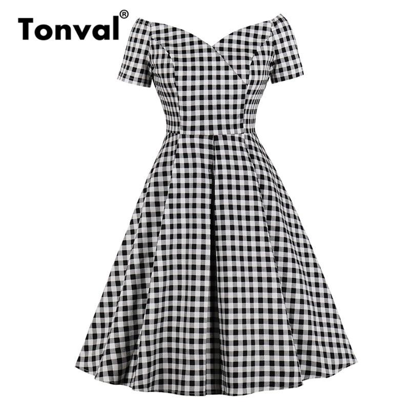 0545af2422b Tonval винтажное клетчатое платье с открытыми плечами элегантное миди женское  платье Офисная Леди клетчатое платье для