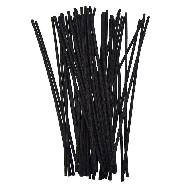 50pcs Black Rattan Reed Replacement 20cm 3mm Reed Oil Diffuser Refill Sticks DIY Handmade Modern Home Table Decor Supplies