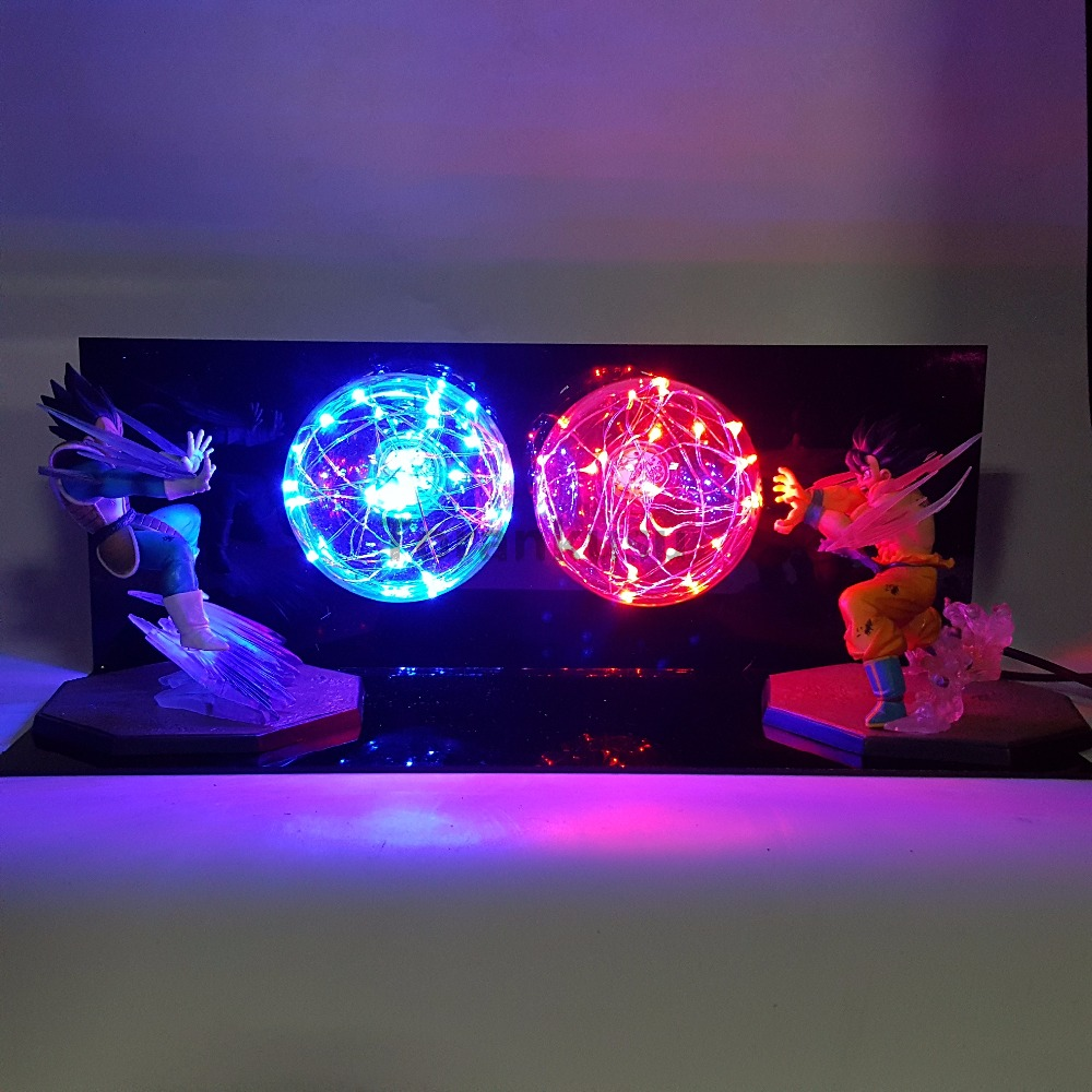 Dragon Ball Z Action Figures Son Goku VS Vegeta Super Saiyan Anime Dragon Ball Z Figurine Model Toy DBZ Led Lighting Lamp