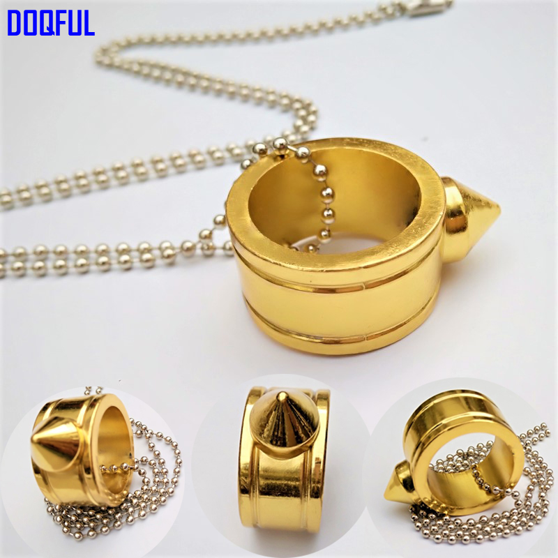 20pcs/lot Emergency Survival Finger Ring Bead Chain Necklace Self Defense Weapon Multifunction Protective Fashion Jewelry Golden