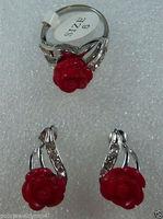 Women S Cospay Women S Hair Full Wigs Jewelry Heart Red Jade Flower Stud Earring Ring