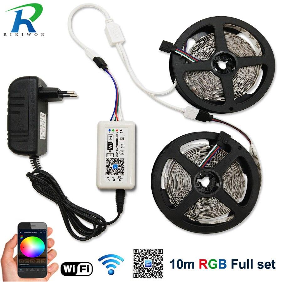 Contrôleur Wifi LED bande RGB 5050 LED bande lumineuse 10 M étanche bande Flexible Diode ruban néon DC 12 V adaptateur pour Android