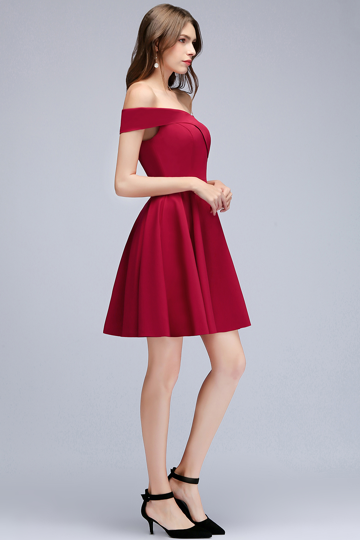 72444e9d64b Babyonline с открытыми плечами бордовые Короткие коктейльные платья 2018  Платья для вечеринок без рукавов женское платье robe de Cocktail