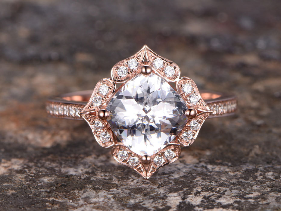 Cushion Cut Engagement ring,925 sterling silver wedding band,rose gold plated,7mm CZ Bridal ring,Art deco,Retro vintage,halo sta 3 4mm round cut brilliant cz 925 sterling silver rose gold plated women fashion engagement wedding cubic zirconia ring
