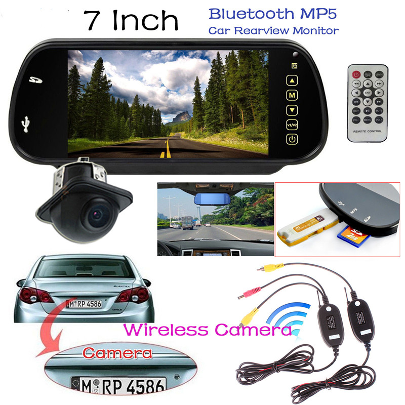 7 Inch TFT LCD Car Rear view Mirror Monitor + Auto Rearview Reverse Backup Parking Camera + Video Transmitter and Receiver Kit электрический чайник bosch twk7901 twk7901