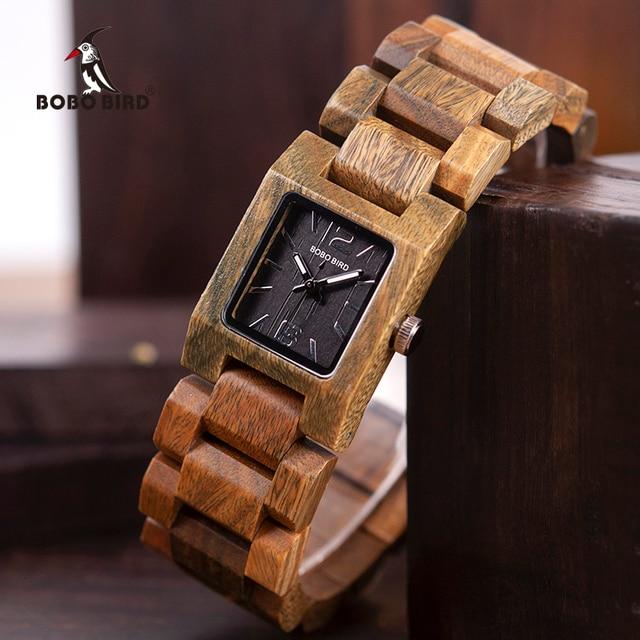 BOBO ptak dorywczo kobiet zegarki kwarcowe panie drewna zegarek najlepszy prezent dla dziewczyny prezent urodzinowy relogio feminino L S02