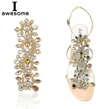 Bohemian style Rhinestone Bridal Wedding Party Shoes Accessories For high Heels Sandals Boots Manual Rhinestone Decorations capputine africa desgin rhinestone shoes and purse set nigeria style summer high heels shoes and bag set for wedding party