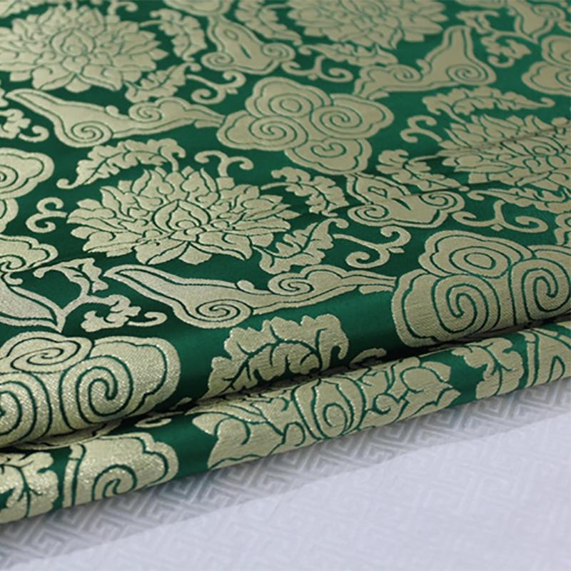 HLQON 75cm width brocade yarn dyed green fabric for felt patchwork tissue telas bed sheet cheongsam dress children cloth coat