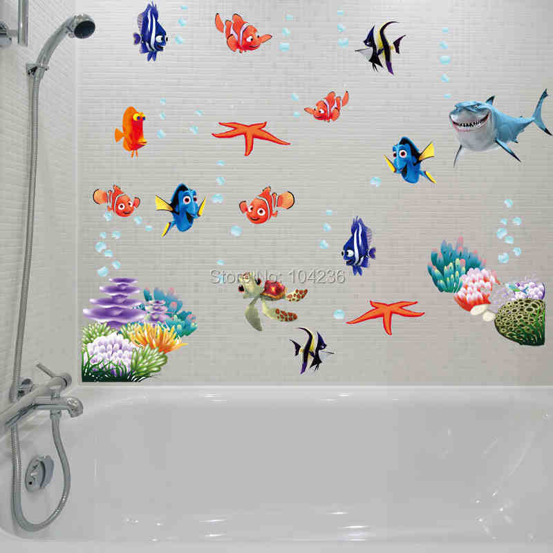 3d Movie Sticker Finding Nemo Wall Decals Nursery Removable Mural Art  Cartoon Stickers Bathroom Diy Colorful Part 59