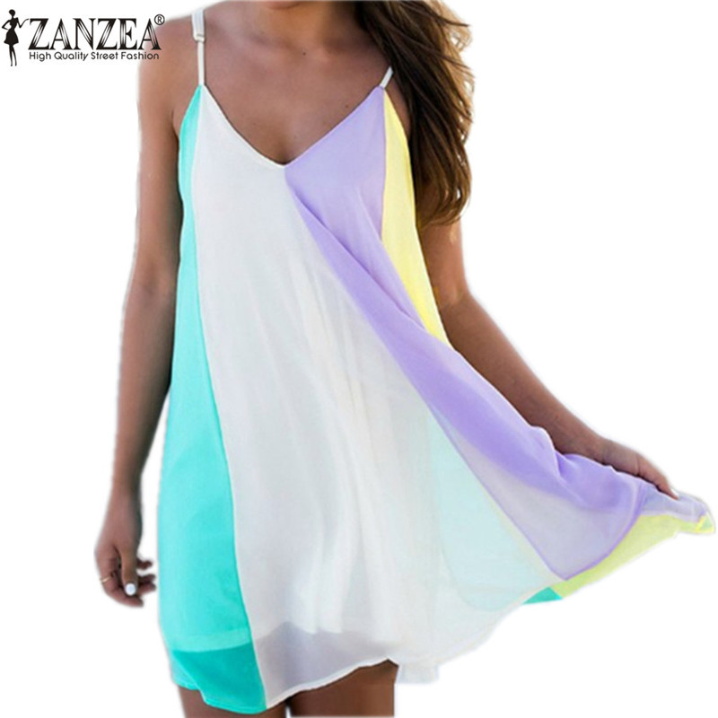New Summer Style Women Dress Spaghetti Strap V Neck Sexy Beach Dress Rainbow Color Chiffion Mini Party Dresses Vestidos S-2XL