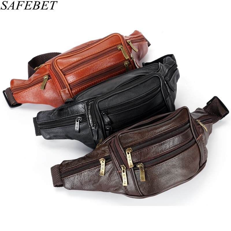 SAFEBET Brand Fashion Men Genuine Leather Waist Packs Men Organizer Travel Waist Pack Necessity Waist Belt Mobile Phone Bag