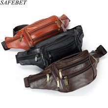 SAFEBET Brand Fashion Men Genuine Leather Waist Packs Men Organizer Travel Waist Pack Necessity Waist belt Mobile Phone Bag(China)