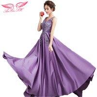 AnXin SH Prinses Romantische bloemen paars bruid avondjurk diner zal presteren tail avondjurk 0252
