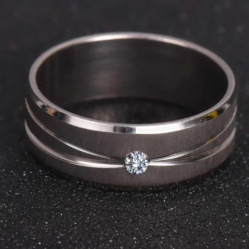 Кольцо из нержавеющей стали 316L высокое качество обручальное кольцо белый кристалл для мужчин и женщин ювелирные изделия никогда не выцветают nj30