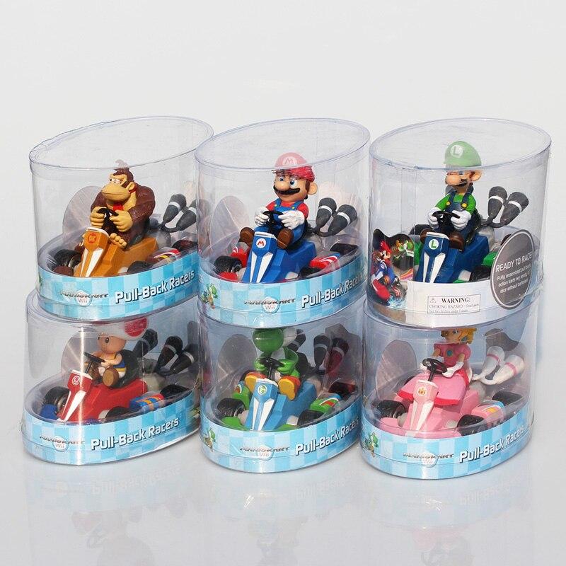 6Pce/Lot Super Mario Bros Kart Princess Peach Toad Donkey Kong Mario Luigi Yoshi Figures Toy Pull Back Cars Pull-Back Racers
