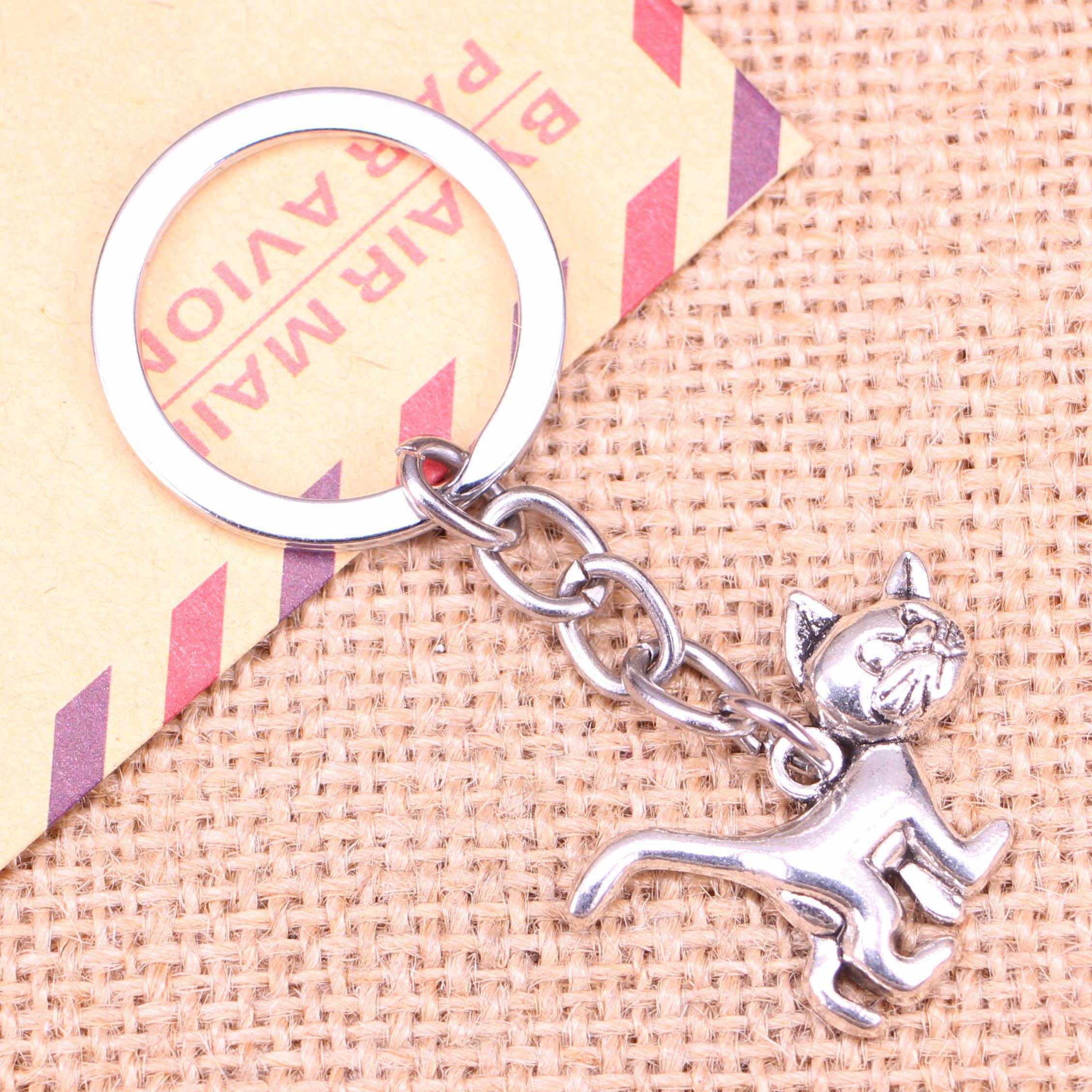20pcs New Fashion Keychain 30x22mm cat Pendants DIY Men Jewelry Car Key Chain Ring Holder Souvenir For Gift