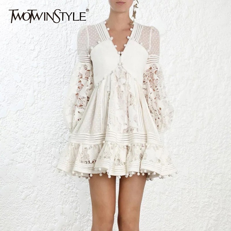TWOTWINSTYLE Polka Dot Dress For Women V Neck Lantern Sleeve High Waist Hollow Out Patchwork Dresses Female 2019 Summer New-in Dresses from Women's Clothing    1