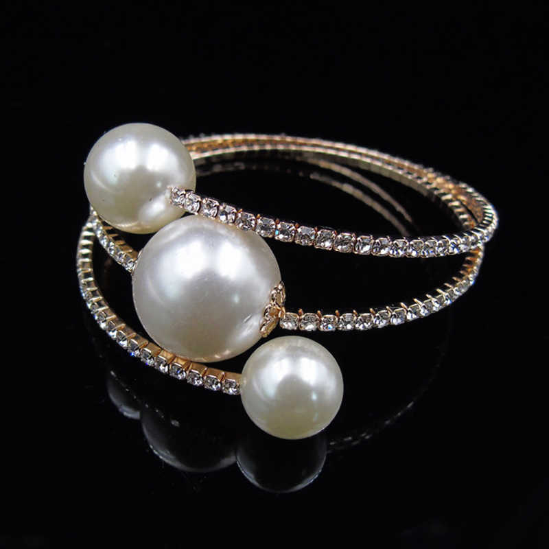 Baru Kristal Pembukaan Emas/Gelang Perak Mutiara Imitasi Pengantin Gelang Elastis Crystal Pearl Gelang Pulseras Mujer Perhiasan