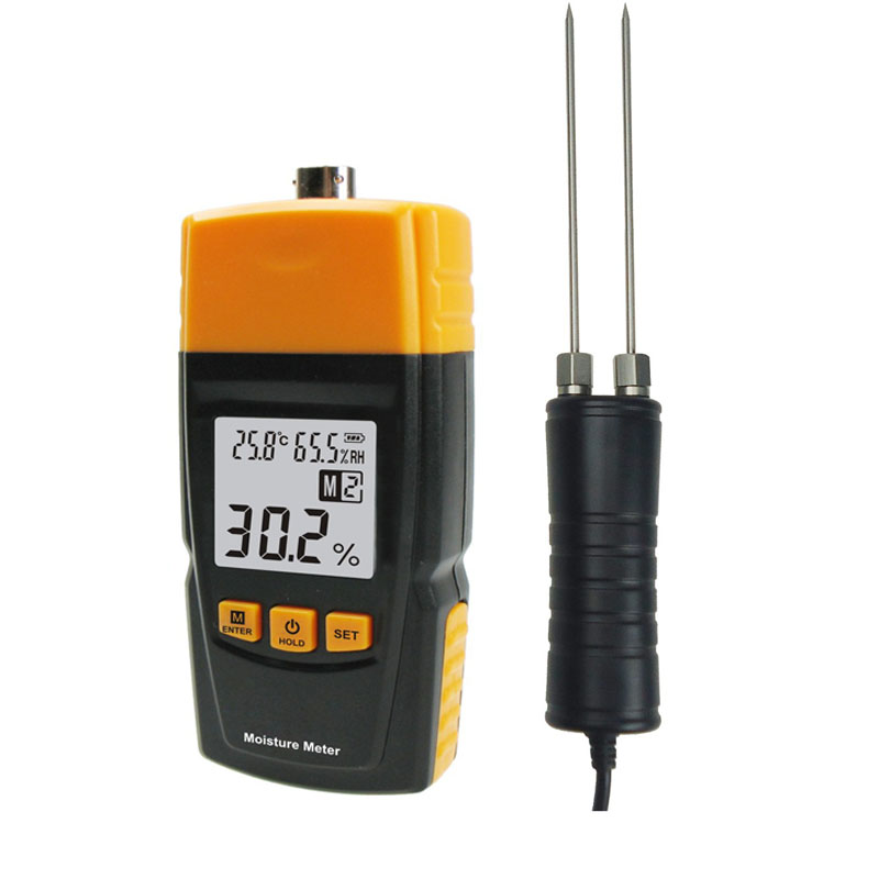 RZ620 Handle Probe Tester Moisture Meter Digital LCD Wood Moisture 2~70% Humidity Tester Timber Damp Detector