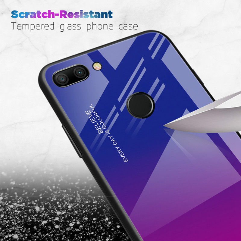 For Huawei Honor View 20 V20 Case Gradient Tempered Glass Hard Case Soft TPU Silicone Frame Cover for Honor 20 pro 20 lite 20pro in Fitted Cases from Cellphones Telecommunications