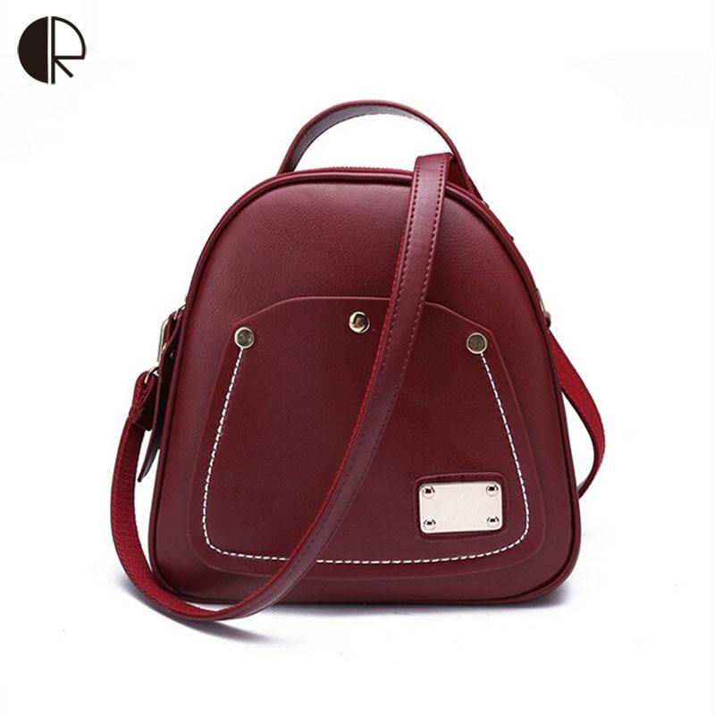 New Women Wine Red Backpacks Brand Designer Shell Shape Preppy Style School Bags Rivet Apple Pattern