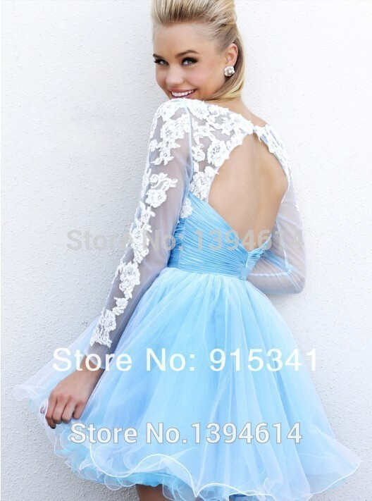 97fea3816b0 20152014 Cheap Organza Lace Long Sleeves Short Prom Dresses Homecoming  Party College Graduation Dresses Light Blue Sexy Open Bac-in Wedding Dresses  from ...