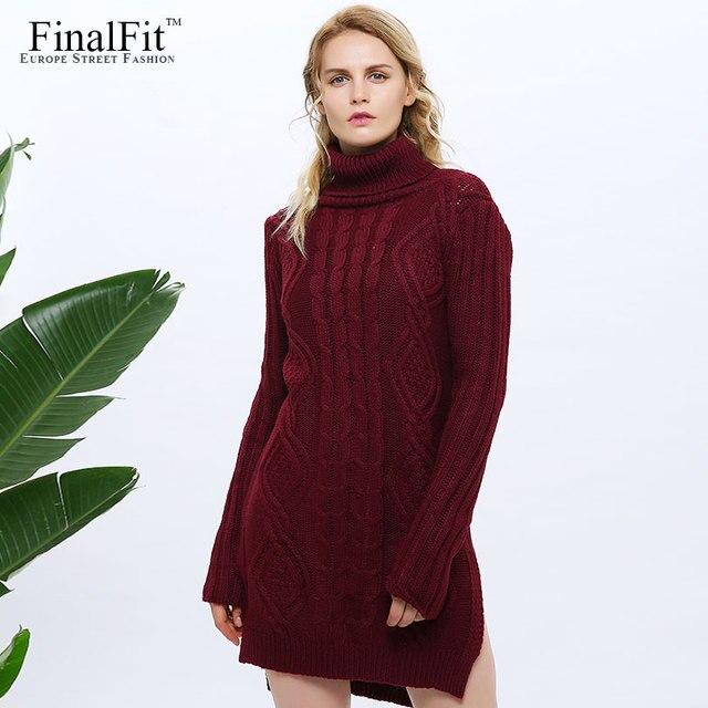 e75616c9d66 Turtleneck Dress Women Side Slit Front Short Back Long Thick Causal Autumn  Women Sweater Dress