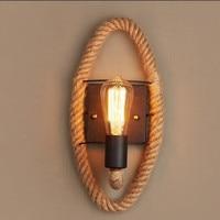 Retro loft rope wall lamp stair aisle corridor bedroom living room restaurant pub cafe wall light bra round sconce lw53317py