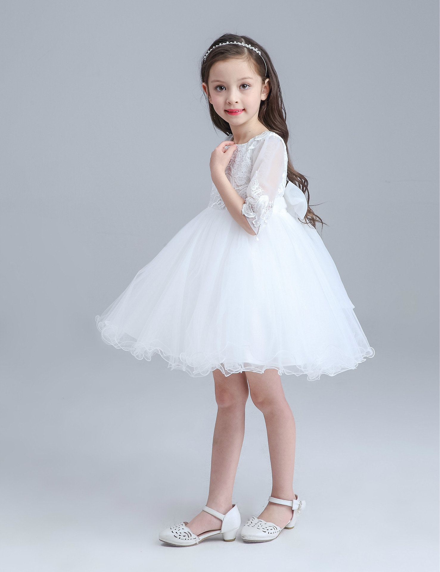 White Mini Formal Girl Dress Half Sleeve Christmas Girl Party ...