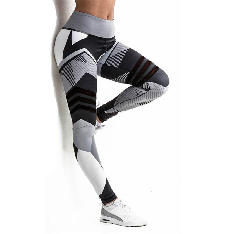 SVOKOR Leggings de Fitness noir blanc couture impression Legins mujer été Polyester Femme élégant respirant Leggins