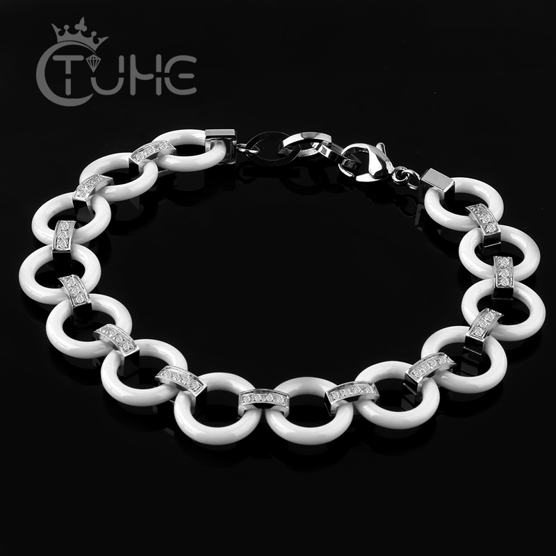 2017 Gra të Reja Byzylyk White Bling Rhinestone Qeramike Byzylyk Stainless Steel Stainless Qeramik Circle Circle Choker byzylyk Bangles For Women