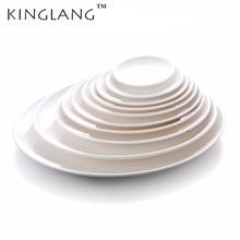 KINGLANG Restaurant Plastic Melamine White Flat Dinner Plate Set  Tableware