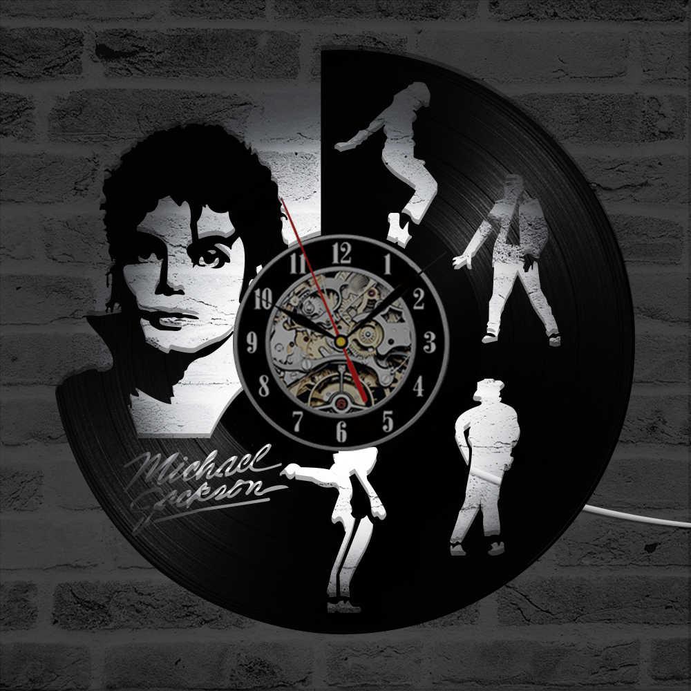 Dancing Michael Jackson Shape LED Vinyl Record Clock Creative Hanging Clocks Antique Home Decor Black Round Hollow Wall Clock